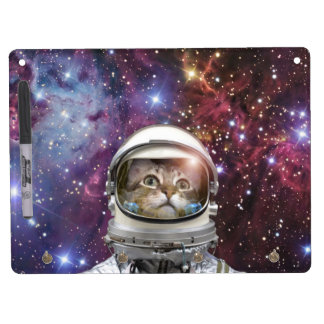Cat astronaut - crazy cat - cat dry erase board with keychain holder