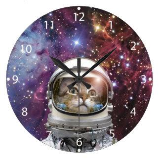 Cat astronaut - crazy cat - cat large clock