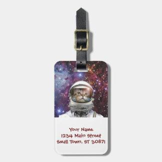 Cat astronaut - crazy cat - cat luggage tag