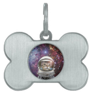 Cat astronaut - crazy cat - cat pet ID tag
