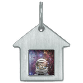 Cat astronaut - crazy cat - cat pet name tag
