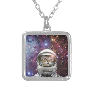 Cat astronaut - crazy cat - cat silver plated necklace