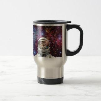 Cat astronaut - crazy cat - cat travel mug
