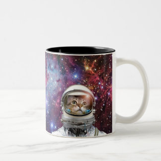 Cat astronaut - crazy cat - cat Two-Tone coffee mug