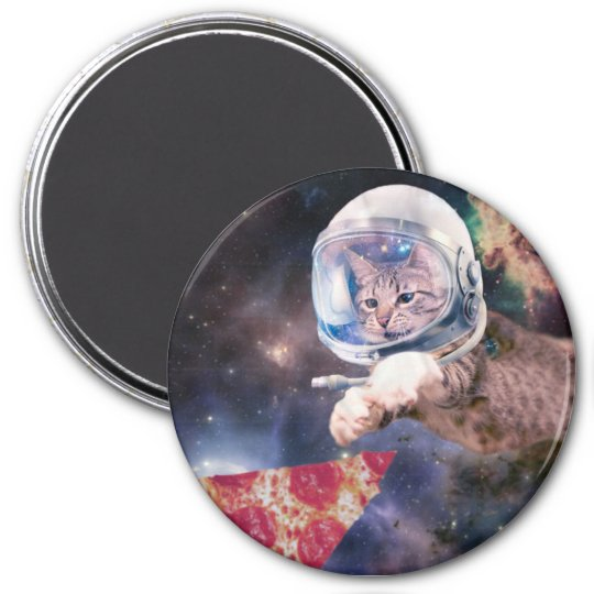 cat astronaut - funny cats - cats in space 3 inch round magnet