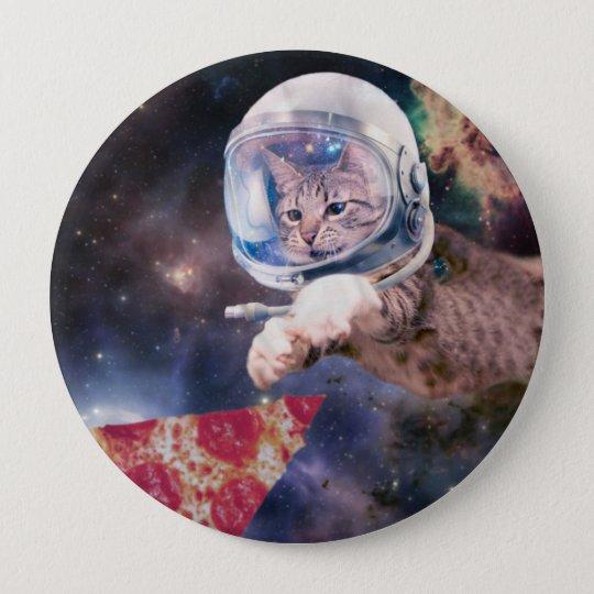 cat astronaut - funny cats - cats in space 4 inch round button