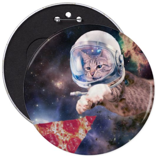cat astronaut - funny cats - cats in space 6 inch round button