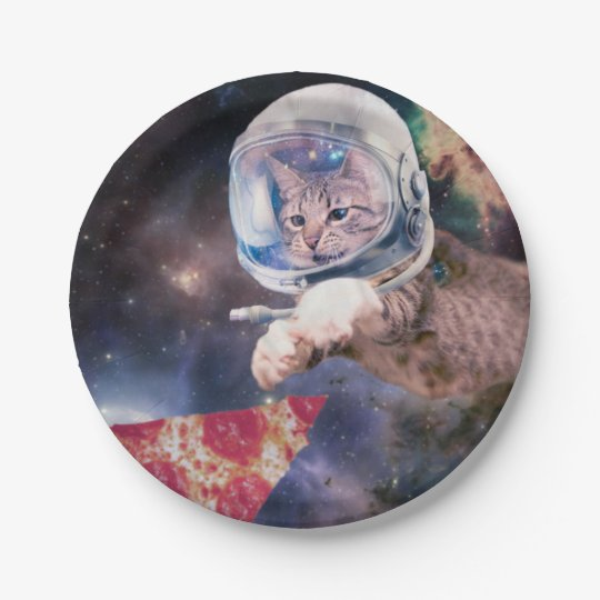 cat astronaut - funny cats - cats in space 7 inch paper plate