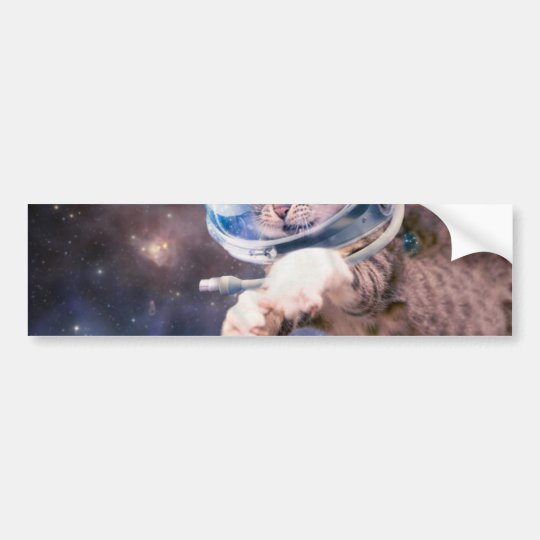 cat astronaut - funny cats - cats in space bumper sticker
