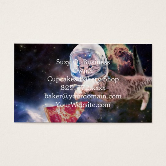 cat astronaut - funny cats - cats in space business card