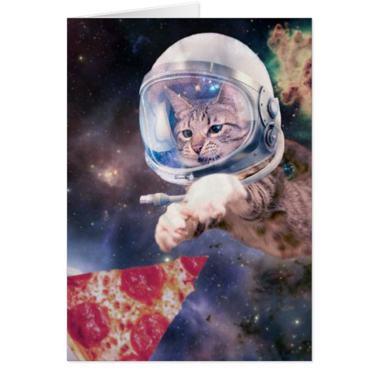 cat astronaut - funny cats - cats in space card