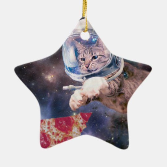 cat astronaut - funny cats - cats in space ceramic star ornament