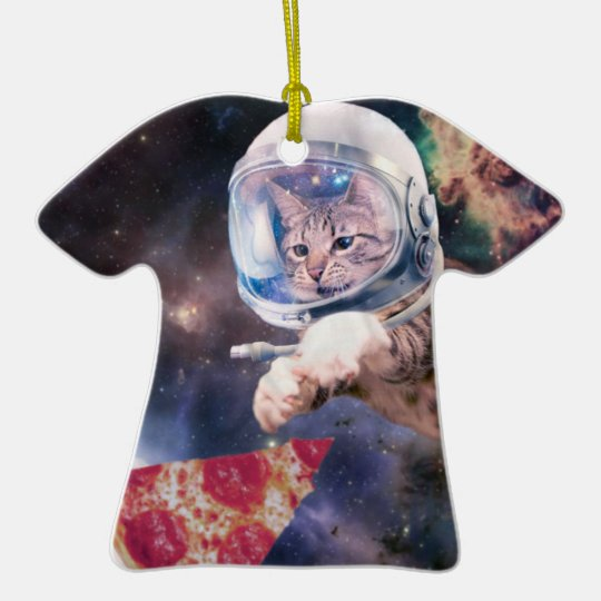 cat astronaut - funny cats - cats in space ceramic T-Shirt ornament