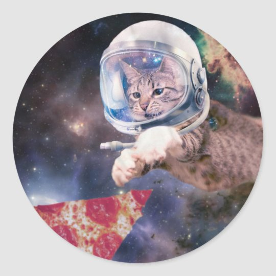 cat astronaut - funny cats - cats in space classic round sticker