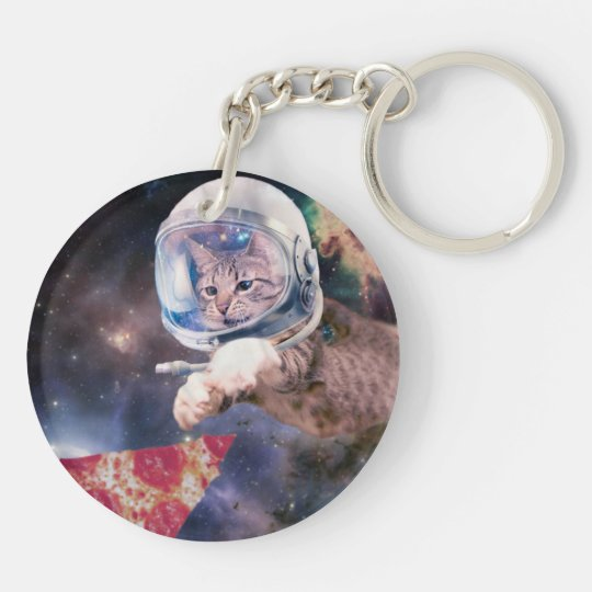 cat astronaut - funny cats - cats in space Double-Sided round acrylic keychain