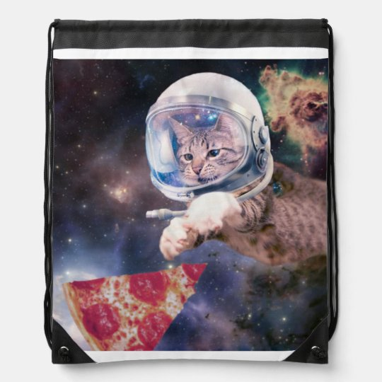cat astronaut - funny cats - cats in space drawstring bag