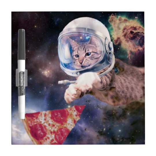 cat astronaut - funny cats - cats in space dry erase board
