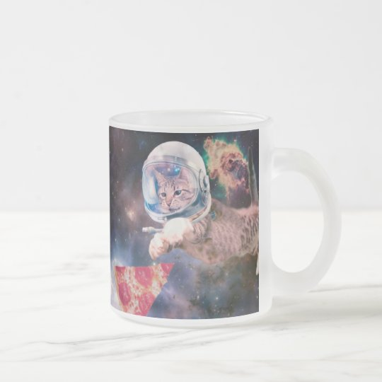 cat astronaut - funny cats - cats in space frosted glass coffee mug
