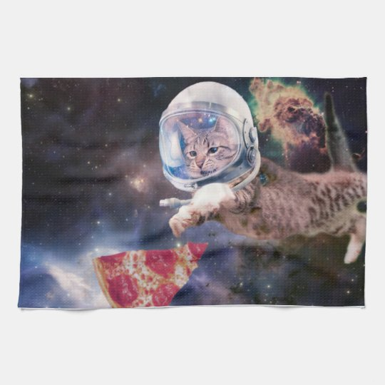 cat astronaut - funny cats - cats in space kitchen towel