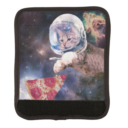 cat astronaut - funny cats - cats in space luggage handle wrap