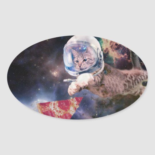 cat astronaut - funny cats - cats in space oval sticker