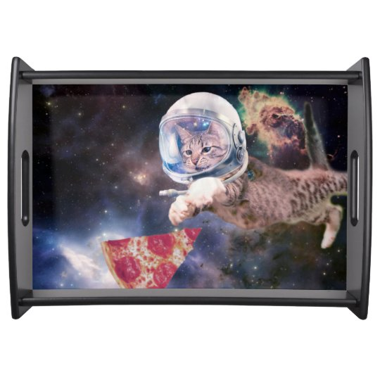 cat astronaut - funny cats - cats in space serving tray