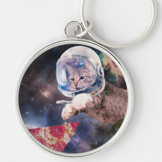 cat astronaut - funny cats - cats in space Silver-Colored round keychain