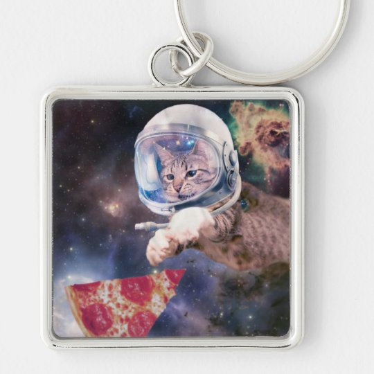 cat astronaut - funny cats - cats in space Silver-Colored square keychain