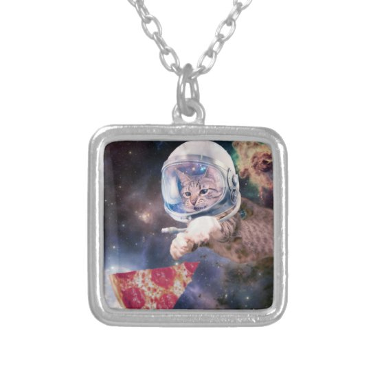 cat astronaut - funny cats - cats in space silver plated necklace