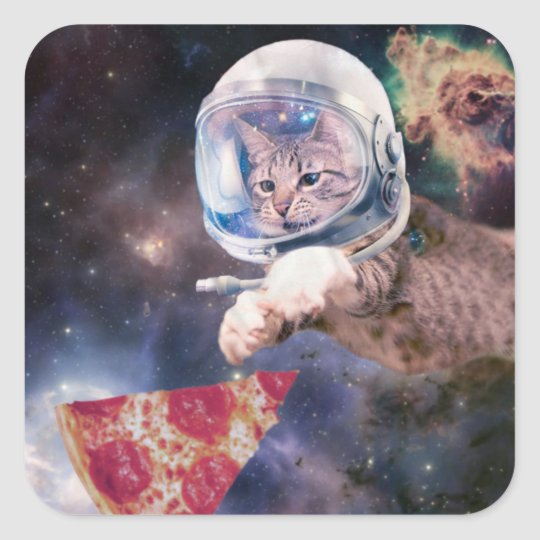 cat astronaut - funny cats - cats in space square sticker