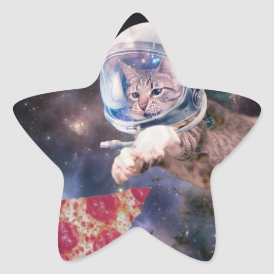 cat astronaut - funny cats - cats in space star sticker