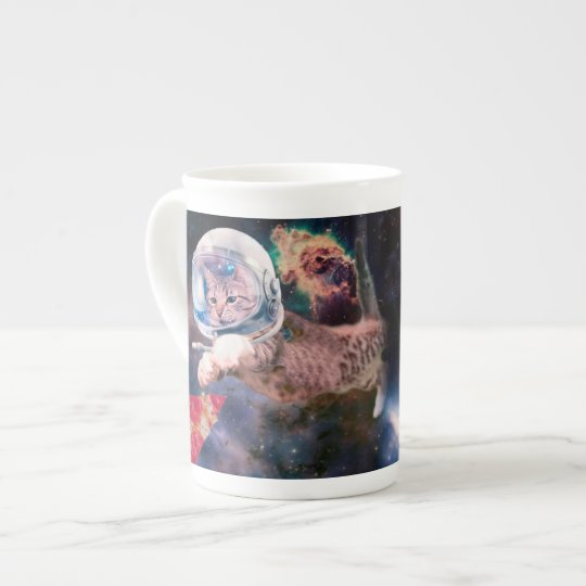 cat astronaut - funny cats - cats in space tea cup