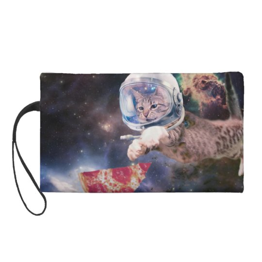 cat astronaut - funny cats - cats in space wristlet purses