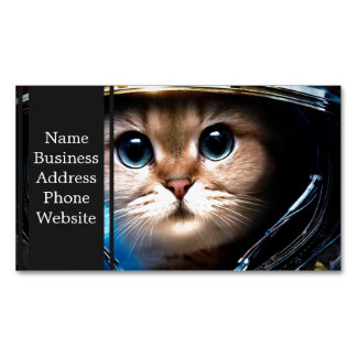 Cat astronaut magnetic business card