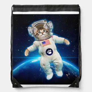 Cat astronaut - space cat - Cat lover Drawstring Bag