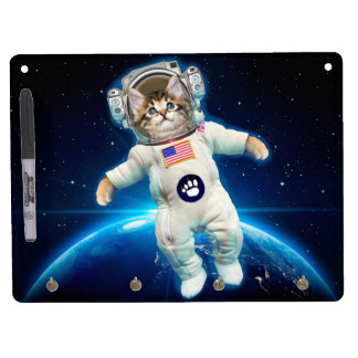 Cat astronaut - space cat - Cat lover Dry Erase Board With Keychain Holder