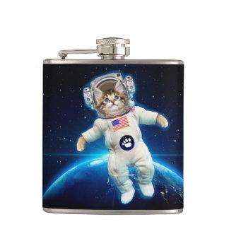 Cat astronaut - space cat - Cat lover Hip Flask