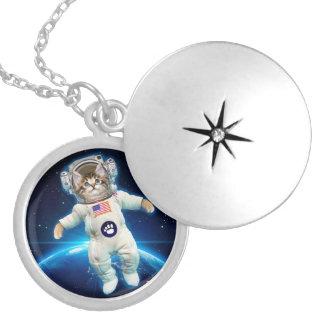 Cat astronaut - space cat - Cat lover Locket Necklace