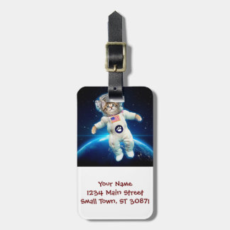 Cat astronaut - space cat - Cat lover Luggage Tag