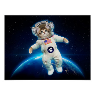 Cat astronaut - space cat - Cat lover Poster