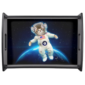 Cat astronaut - space cat - Cat lover Serving Tray