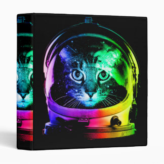 Cat astronaut - space cat - funny cats 3 ring binder