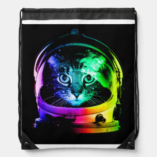 Cat astronaut - space cat - funny cats drawstring bag