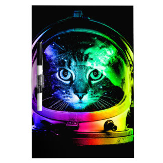 Cat astronaut - space cat - funny cats dry erase board