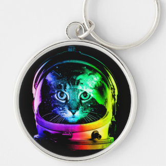 Cat astronaut - space cat - funny cats keychain