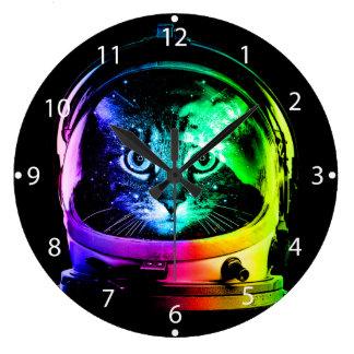 Cat astronaut - space cat - funny cats large clock