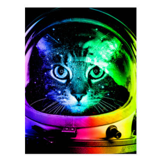 Cat astronaut - space cat - funny cats postcard