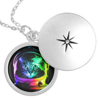 Cat astronaut - space cat - funny cats silver plated necklace