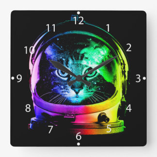 Cat astronaut - space cat - funny cats square wall clock
