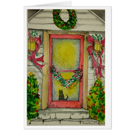 Cat at the door/Christmas  Card